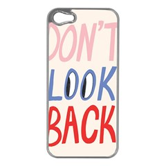 Don t Look Back Big Eye Pink Red Blue Sexy Apple iPhone 5 Case (Silver)