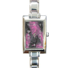 Feathers Quill Pink Grey Rectangle Italian Charm Watch