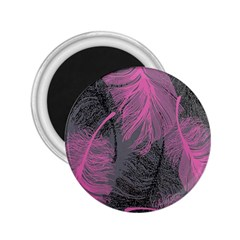 Feathers Quill Pink Grey 2.25  Magnets