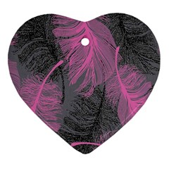 Feathers Quill Pink Grey Ornament (Heart)