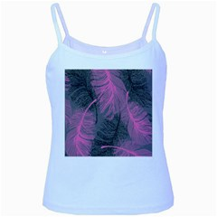 Feathers Quill Pink Grey Baby Blue Spaghetti Tank