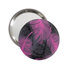 Feathers Quill Pink Grey 2.25  Handbag Mirrors