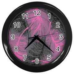 Feathers Quill Pink Grey Wall Clocks (Black)