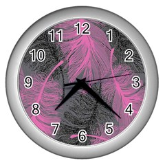 Feathers Quill Pink Grey Wall Clocks (Silver)