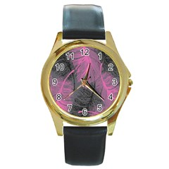 Feathers Quill Pink Grey Round Gold Metal Watch