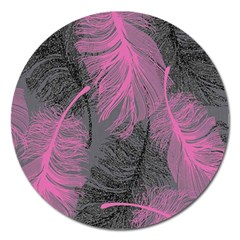 Feathers Quill Pink Grey Magnet 5  (Round)