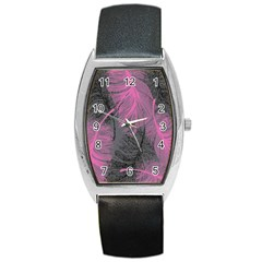 Feathers Quill Pink Grey Barrel Style Metal Watch