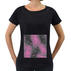 Feathers Quill Pink Grey Women s Loose-Fit T-Shirt (Black)