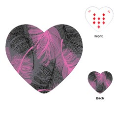 Feathers Quill Pink Grey Playing Cards (Heart)