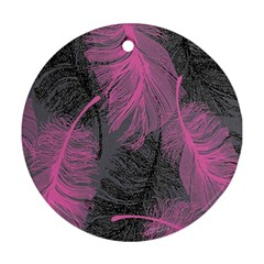 Feathers Quill Pink Grey Round Ornament (Two Sides)