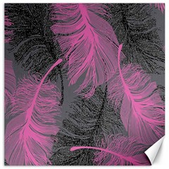 Feathers Quill Pink Grey Canvas 16  x 16