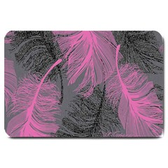 Feathers Quill Pink Grey Large Doormat