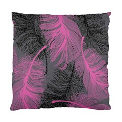 Feathers Quill Pink Grey Standard Cushion Case (One Side)