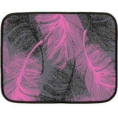 Feathers Quill Pink Grey Double Sided Fleece Blanket (Mini)