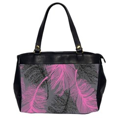 Feathers Quill Pink Grey Office Handbags (2 Sides)