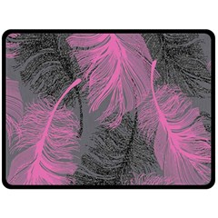Feathers Quill Pink Grey Fleece Blanket (Large)