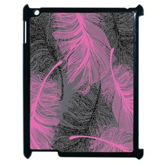 Feathers Quill Pink Grey Apple iPad 2 Case (Black)