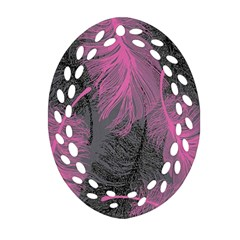 Feathers Quill Pink Grey Ornament (Oval Filigree)