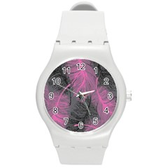 Feathers Quill Pink Grey Round Plastic Sport Watch (M)