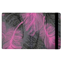 Feathers Quill Pink Grey Apple iPad 2 Flip Case