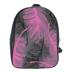 Feathers Quill Pink Grey School Bags (xl)