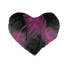 Feathers Quill Pink Grey Standard 16  Premium Heart Shape Cushions