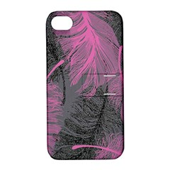 Feathers Quill Pink Grey Apple iPhone 4/4S Hardshell Case with Stand