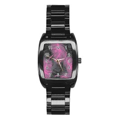 Feathers Quill Pink Grey Stainless Steel Barrel Watch