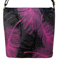 Feathers Quill Pink Grey Flap Messenger Bag (S)