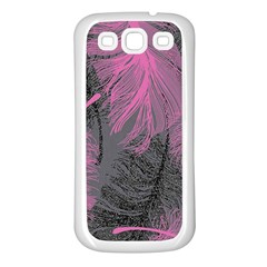 Feathers Quill Pink Grey Samsung Galaxy S3 Back Case (white)