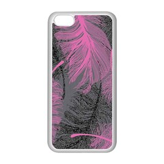 Feathers Quill Pink Grey Apple iPhone 5C Seamless Case (White)