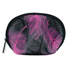 Feathers Quill Pink Grey Accessory Pouches (Medium)