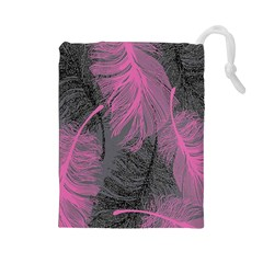 Feathers Quill Pink Grey Drawstring Pouches (Large)