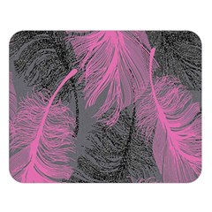 Feathers Quill Pink Grey Double Sided Flano Blanket (Large)