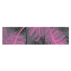Feathers Quill Pink Grey Satin Scarf (oblong)