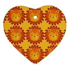 Cute Lion Face Orange Yellow Animals Ornament (Heart)
