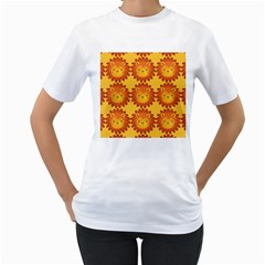 Cute Lion Face Orange Yellow Animals Women s T-Shirt (White) (Two Sided)