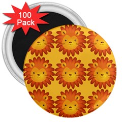 Cute Lion Face Orange Yellow Animals 3  Magnets (100 pack)