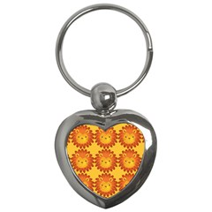 Cute Lion Face Orange Yellow Animals Key Chains (Heart)