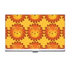 Cute Lion Face Orange Yellow Animals Business Card Holders