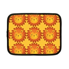Cute Lion Face Orange Yellow Animals Netbook Case (Small)
