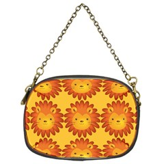 Cute Lion Face Orange Yellow Animals Chain Purses (One Side)