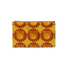 Cute Lion Face Orange Yellow Animals Cosmetic Bag (Small)