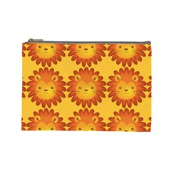 Cute Lion Face Orange Yellow Animals Cosmetic Bag (Large)