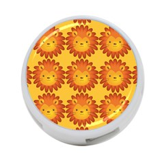 Cute Lion Face Orange Yellow Animals 4-Port USB Hub (Two Sides)