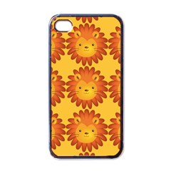 Cute Lion Face Orange Yellow Animals Apple Iphone 4 Case (black)