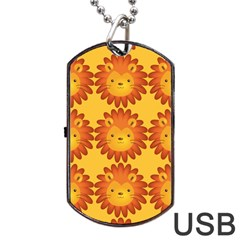 Cute Lion Face Orange Yellow Animals Dog Tag USB Flash (Two Sides)