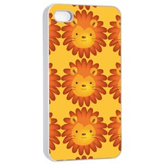 Cute Lion Face Orange Yellow Animals Apple iPhone 4/4s Seamless Case (White)