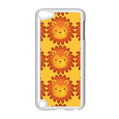 Cute Lion Face Orange Yellow Animals Apple iPod Touch 5 Case (White)