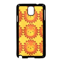 Cute Lion Face Orange Yellow Animals Samsung Galaxy Note 3 Neo Hardshell Case (Black)